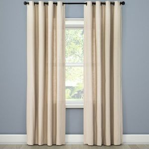 NWT Threshold Solid Brown Linen Panel Curtain Set